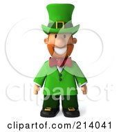 Royalty Free RF Clipart Illustration Of A 3d Leprechaun Man Standing And Facing Front