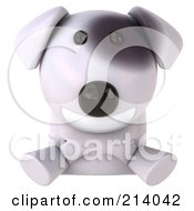 Royalty Free RF Clipart Illustration Of A 3d Bull Terrier Dog Smiling Over A Blank Sign