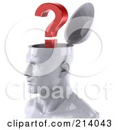 3d White Male Head Character With A Question Mark Facing Left