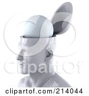 3d White Male Head Character With A Golf Ball