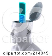 Royalty Free RF Clipart Illustration Of A 3d White Male Head Character With A Cellular Phone by Julos