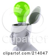 Royalty Free RF Clipart Illustration Of A 3d White Male Head Character With A Light Bulb by Julos