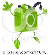 Royalty Free RF Clipart Illustration Of A 3d Eco Gas Can Character Facing Right And Jumping