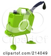 Royalty Free RF Clipart Illustration Of A 3d Eco Gas Can Character Facing Right And Pouting