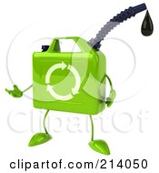Royalty Free RF Clipart Illustration Of A 3d Eco Gas Can Character Facing Left And Gesturing