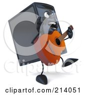 3d Computer Tower Character Walking Right And Playing A Guitar