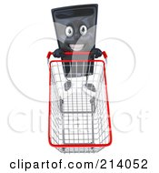 Royalty Free RF Clipart Illustration Of A 3d Computer Tower Character Looking Up And Pushing A Shopping Cart by Julos