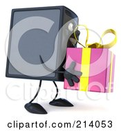 3d Computer Tower Character Facing Right And Holding A Pink Gift