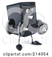 3d Computer Tower Character Facing Right And Holding Dumbbells