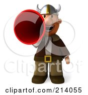 Royalty Free RF Clipart Illustration Of A 3d Young Viking Facing Front And Using A Megaphone