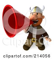 Royalty Free RF Clipart Illustration Of A 3d Young Viking Using A Megaphone