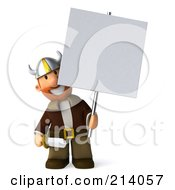 Royalty Free RF Clipart Illustration Of A 3d Young Viking Facing Front And Holding A Blank Sign On A Post by Julos