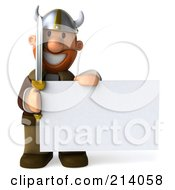 Royalty Free RF Clipart Illustration Of A 3d Young Viking Facing Front And Holding A Blank Sign by Julos