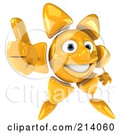 Royalty Free RF Clipart Illustration Of A 3d Sun Guy Holding Out A Thumb Up