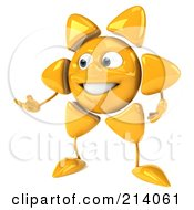 Royalty Free RF Clipart Illustration Of A 3d Sun Guy Facing Left And Gesturing