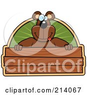 Royalty Free RF Clipart Illustration Of A Big Bear Smiling Over A Wooden Sign by Cory Thoman