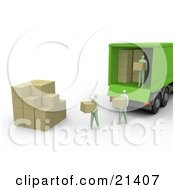 Clipart Illustration Of People Carrying Boxes From A Green Delivery Truck And Stacking Them In A Cube Shape by 3poD