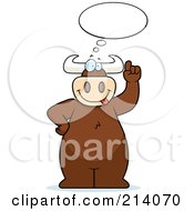 Royalty Free RF Clipart Illustration Of A Big Bull Under An Idea Balloon by Cory Thoman