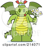 Royalty Free RF Clipart Illustration Of A Green Dragon Holding Flowers by Cory Thoman