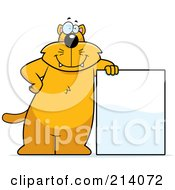 Royalty Free RF Clipart Illustration Of A Big Orange Cat Leaning On A Blank Sign