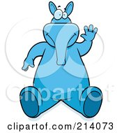 Royalty Free RF Clipart Illustration Of A Big Blue Aardvark Sitting And Waving by Cory Thoman