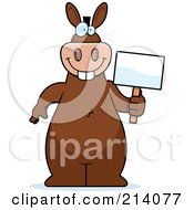 Royalty Free RF Clipart Illustration Of A Big Brown Donkey Holding A Small Blank Sign