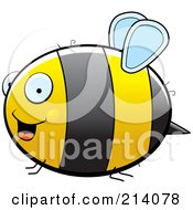 Royalty Free RF Clipart Illustration Of A Happy Chubby Bumble Bee Flying In Profile by Cory Thoman