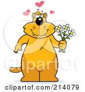 Royalty Free RF Clipart Illustration Of A Big Orange Cat With Hearts Holding Flowers