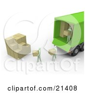 Movers Unloading Boxes From A Green Delivery Truck And Stacking Them Into A Cube Shape