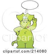 Royalty Free RF Clipart Illustration Of A Big Green Dino Under An Idea Cloud by Cory Thoman