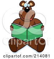 Royalty Free RF Clipart Illustration Of A Big Bear Sitting And Reading A Book by Cory Thoman