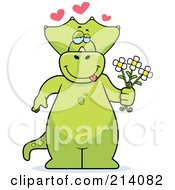 Royalty Free RF Clipart Illustration Of A Big Green Dino With Hearts And Flower by Cory Thoman