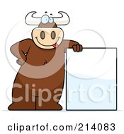 Royalty Free RF Clipart Illustration Of A Big Bull Leaning On A Blank Sign by Cory Thoman