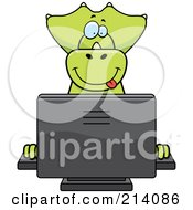 Royalty Free RF Clipart Illustration Of A Big Green Dino Smiling And Using A Computer by Cory Thoman