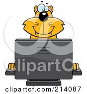 Royalty Free RF Clipart Illustration Of A Big Orange Cat Smiling And Using A Computer by Cory Thoman