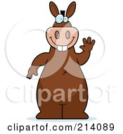 Royalty Free RF Clipart Illustration Of A Big Brown Donkey Standing And Waving by Cory Thoman