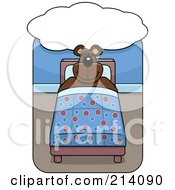 Royalty Free RF Clipart Illustration Of A Big Bear Sleeping In A Bed Under A Dream Cloud by Cory Thoman