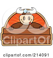 Royalty Free RF Clipart Illustration Of A Big Bull Smiling Over A Blank Wooden Sign by Cory Thoman