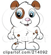 Royalty Free RF Clipart Illustration Of An Adorable Baby Dog With Brown Spots And A White Coat
