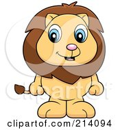 Royalty Free RF Clipart Illustration Of An Adorable Baby Lion Standing On His Hind Legs by Cory Thoman
