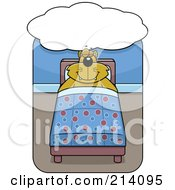 Royalty Free RF Clipart Illustration Of A Big Orange Cat Sleeping Under A Dream Balloon In A Bed by Cory Thoman