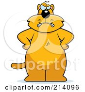 Royalty Free RF Clipart Illustration Of A Big Grumpy Orange Cat Facing Front With His Hands On His Hips