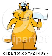 Royalty Free RF Clipart Illustration Of A Big Orange Cat Holding A Small Blank Sign