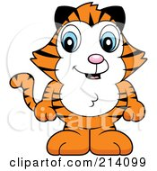Royalty Free RF Clipart Illustration Of An Adorable Baby Tiger Standing On His Hind Legs by Cory Thoman