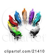Group Of Diverse Gray Blue Purple Orange Red Yellow And Green People Seated In Chairs In A Circle Of A Support Group