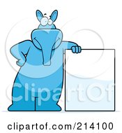 Royalty Free RF Clipart Illustration Of A Big Blue Aardvark Leaning On A Blank Sign by Cory Thoman