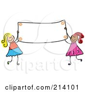 Childs Sketch Of Girls Holding A Blank Banner