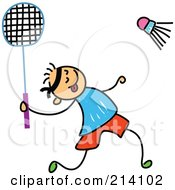 Royalty Free RF Clipart Illustration Of A Childs Sketch Of A Boy Playing Badminton