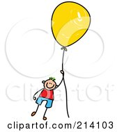 Royalty Free RF Clipart Illustration Of A Childs Sketch Of A Boy Floating Away With A Balloon by Prawny