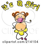 Childs Sketch Of Its A Girl Text And Baby
